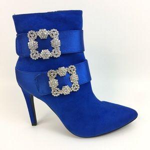 Royal Blue Buckle Embellished Stiletto Boots
